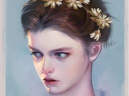 头戴花环的少女