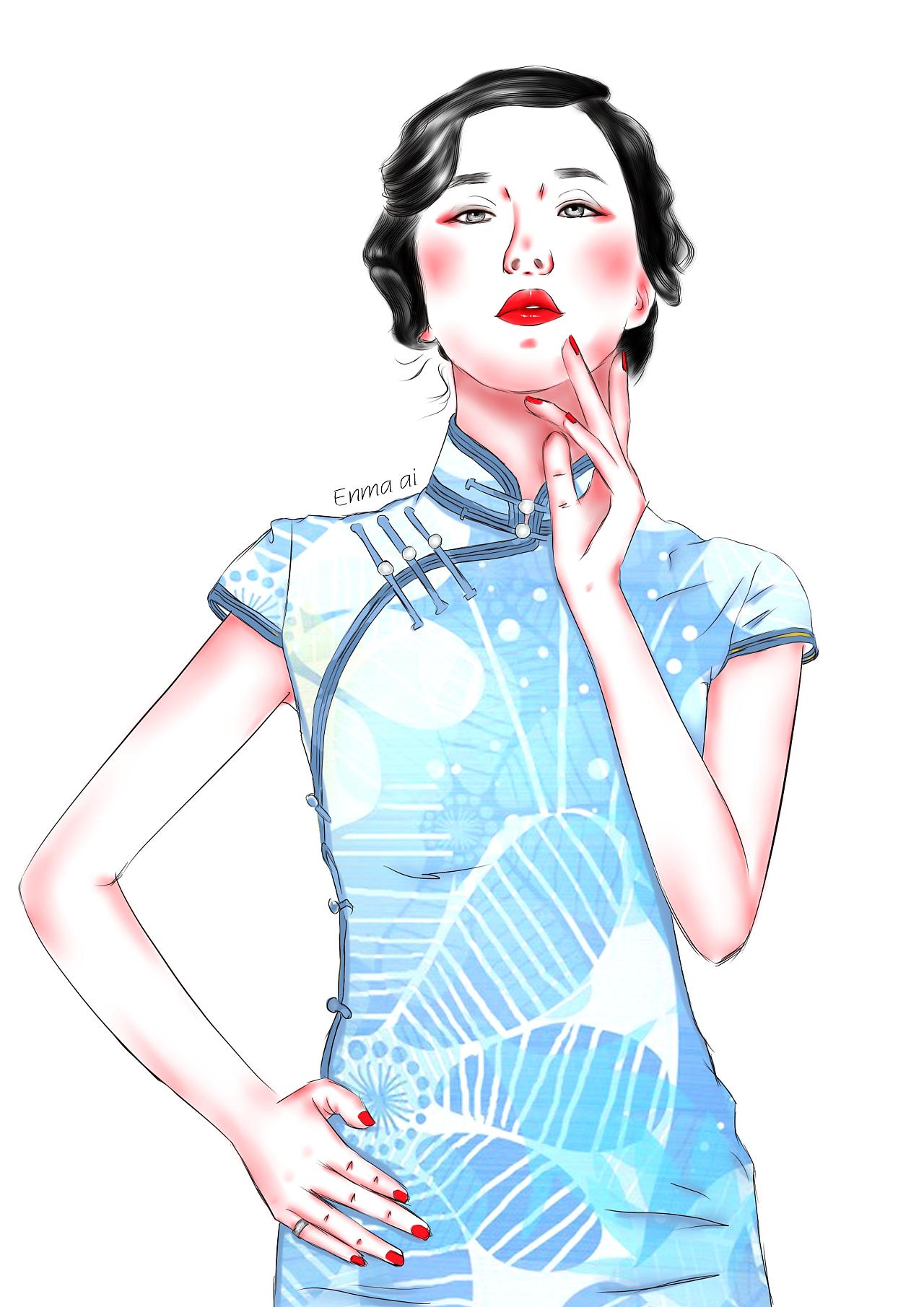 旗袍|插画|其他插画|阎爱a - 原创作品 - 站酷 (zcool)