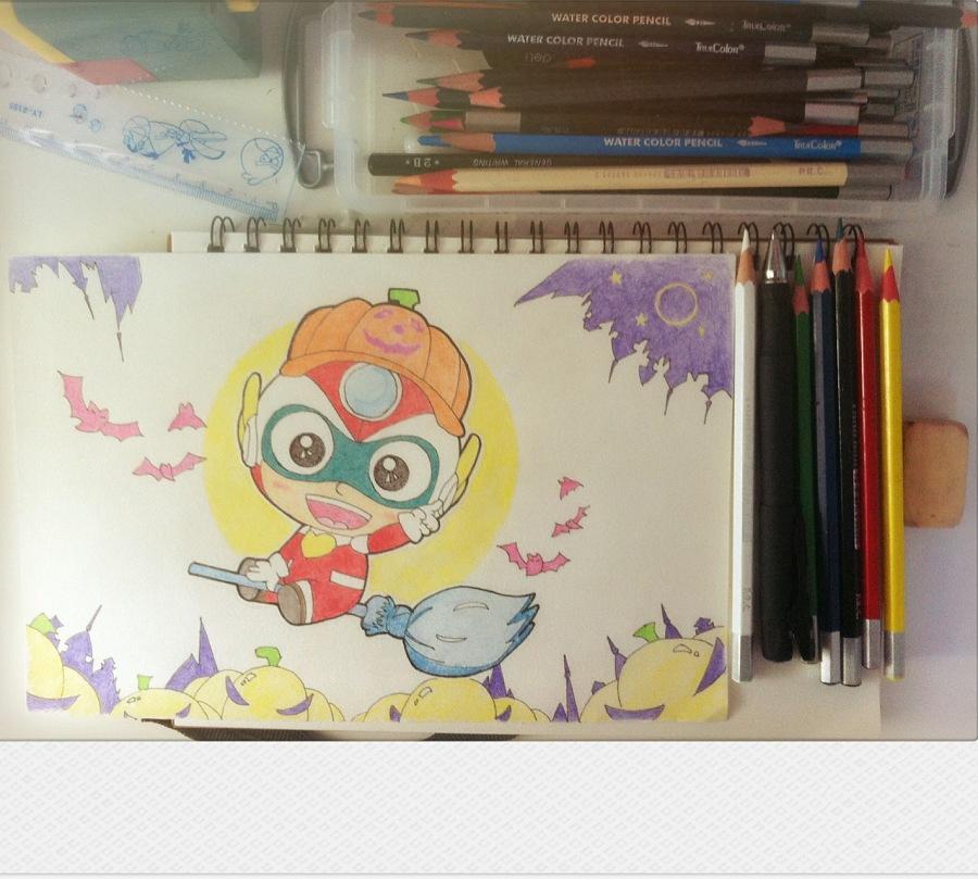 彩铅手绘小插画|绘画习作|插画|湘艺人