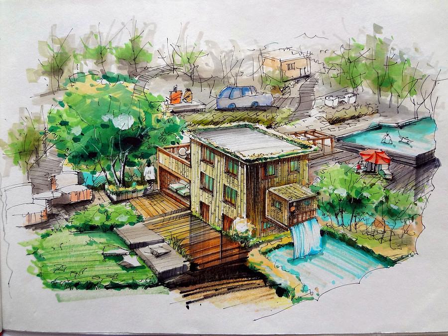 仿生别墅设计手绘