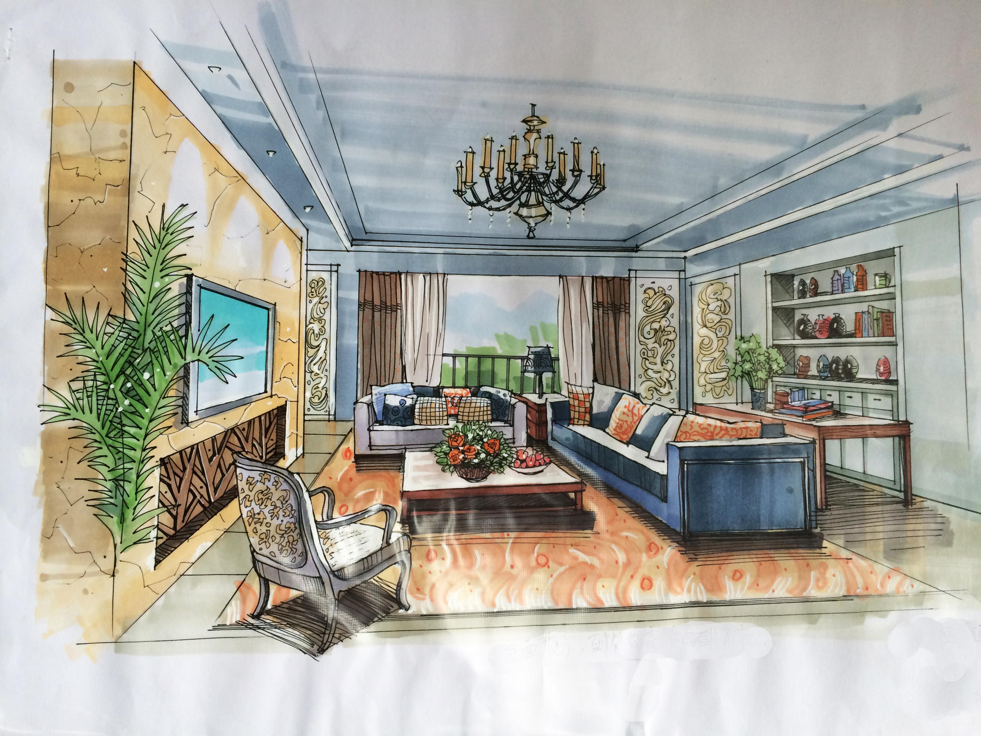 室内手绘设计图 卧室展示
