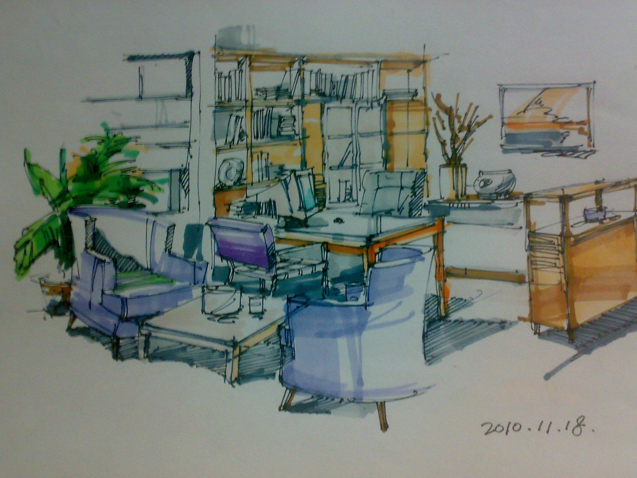 室内手绘效果图|插画|商业插画|半透明的鱼 - 原创