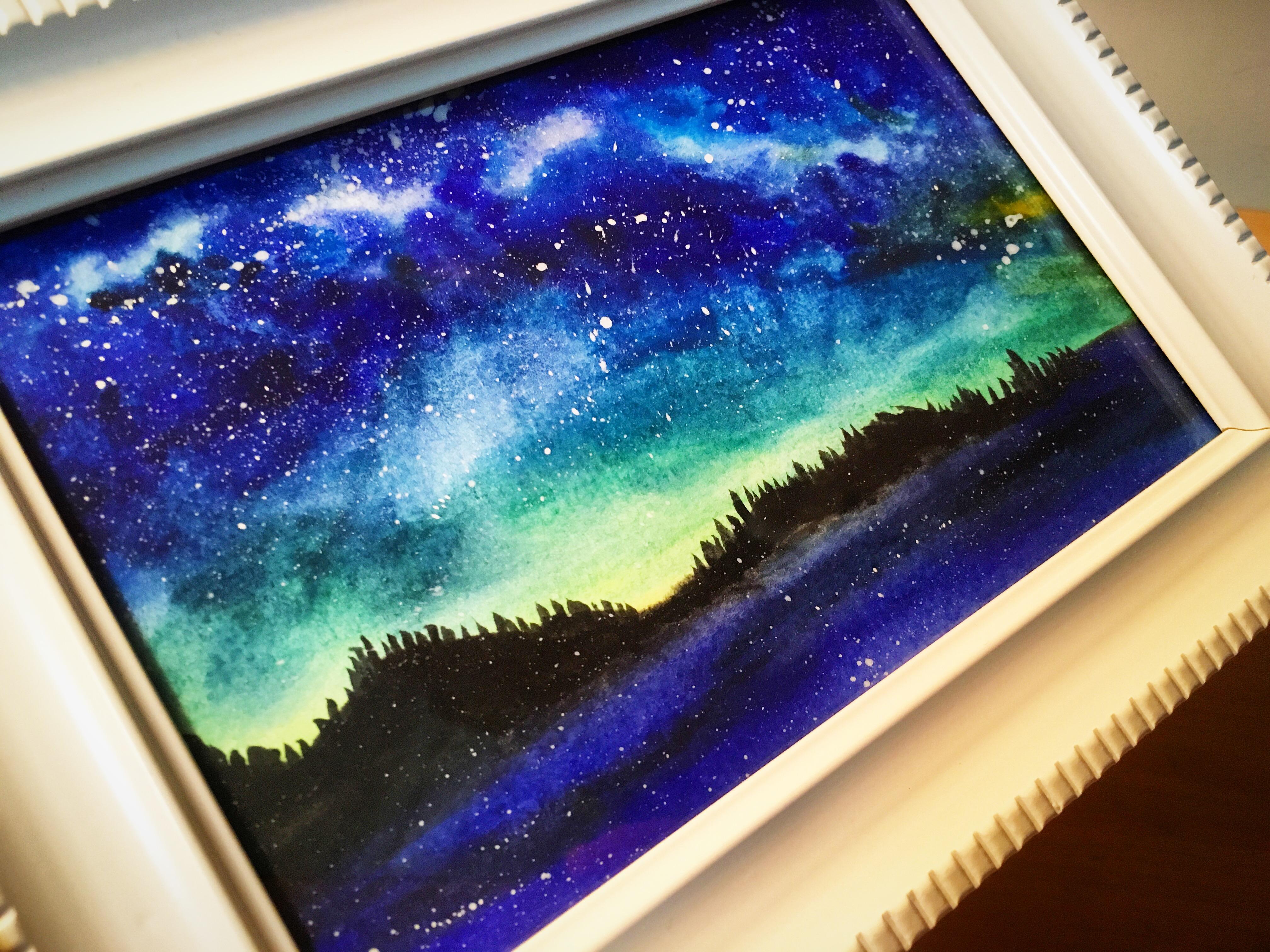 水彩手绘星空