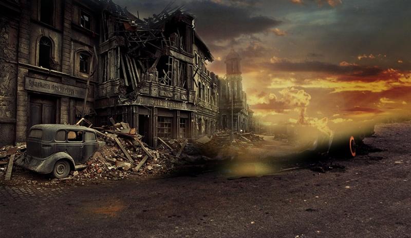 ps超强合成战后废墟孤寂场景