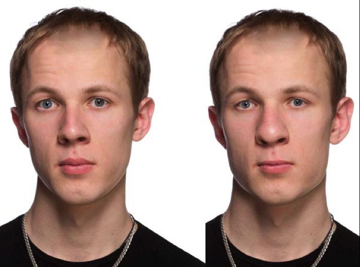 头发与额头需要向外推,而头发的映衬下轮廓需要向内推进.图片