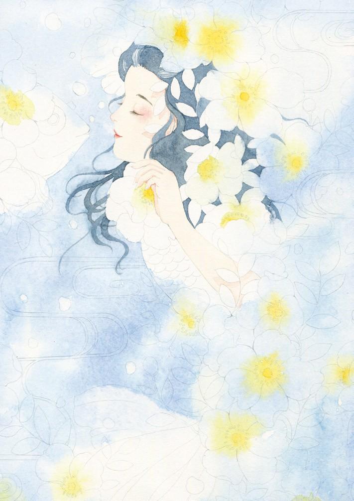 100堂水彩插画手绘实战课——金鱼少女