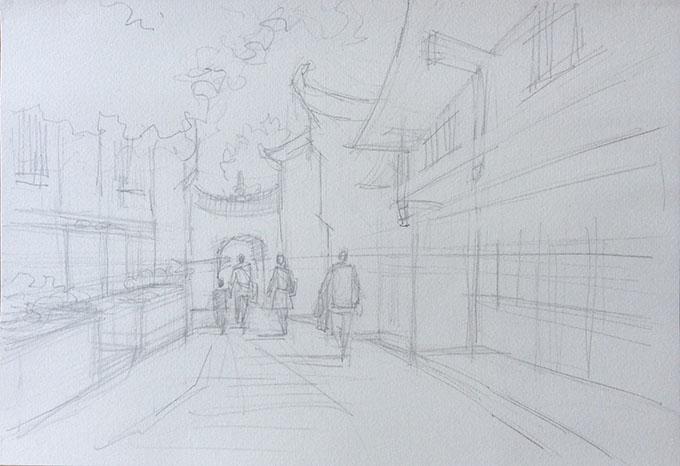 罗克中 古村一角速写写生步骤分享一 其他 资讯 老木棉 设计文章 教程