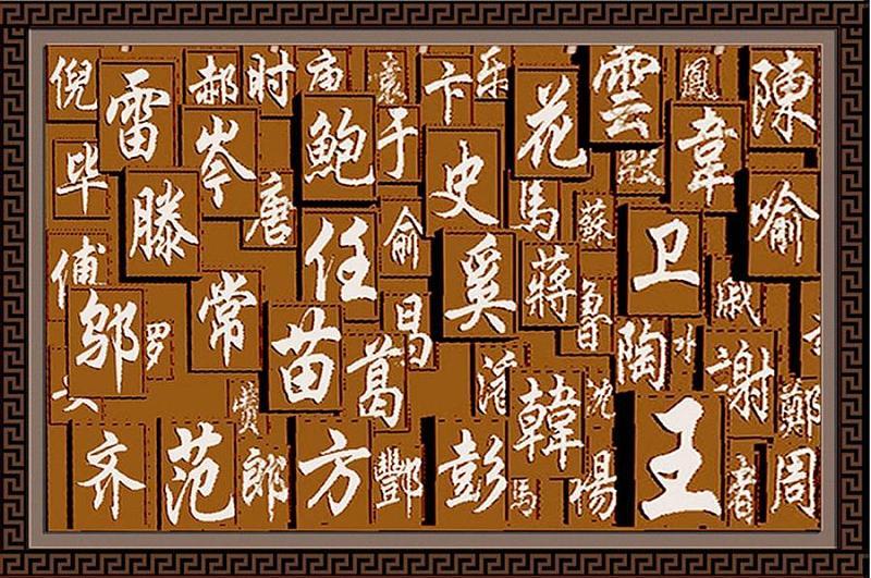 铸铜地雕样品(规划为10块表现百家姓氏,每块12个姓氏).图片