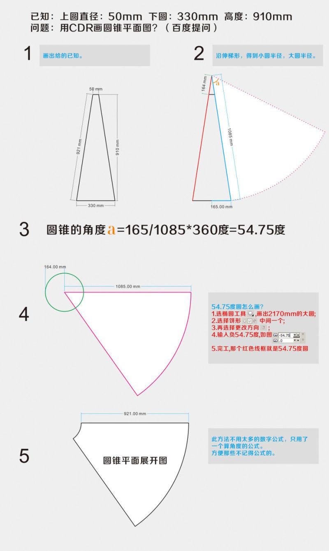 cdr绘制圆锥平面图