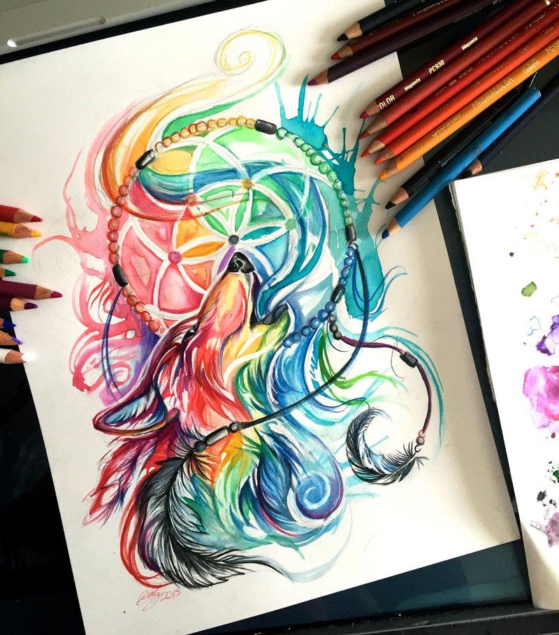三角几何图形,黑白手绘加之水墨马克笔和水彩颜料的全新玩法组合