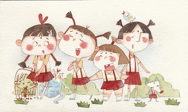 元宵节手绘卡通明信片