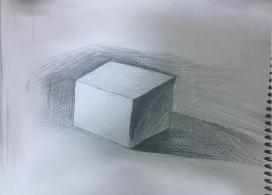 不过还是画完了,分析临摹中出现的错误 1. 形体不准,正方体的比例都画歪了,证明对透视的理解还不够 2. 边缘线条不整齐,需要加强对线条的练习 3. 调子上的不均匀。黑的太黑,浅的太浅,需要加强由深到浅的排线练习! 三、练习 了解了自己的错误后,针对性的去纠正自己的这些错误,在空白纸上大量的练习排线 然后重画!