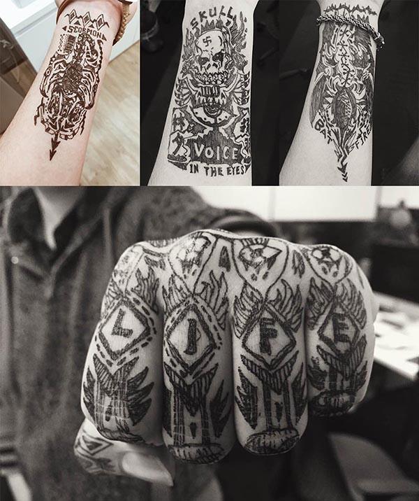 不同的手绘纹身
