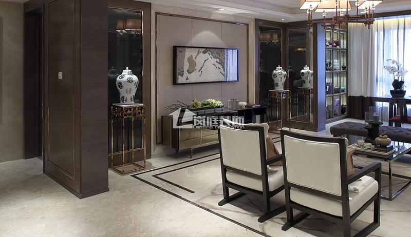 武昌100平米三室二厅现代中式风装修效果图图片