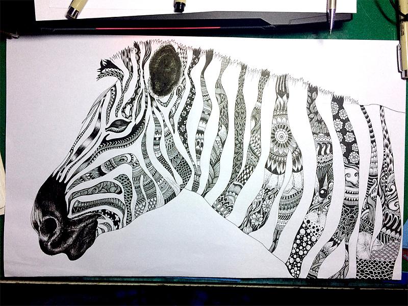 黑白线描装饰画经验分享 绘画 教程 seed朱塽 设计文章 教程分享 站酷 图片