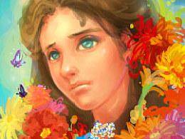 花与少女色彩快速练习