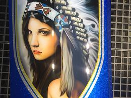 喷笔绘画一个印第安girl