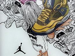 《DREAM GIRL——AIR JORDAN》系列插画创作及艺术衍生产品展示【一:玻璃插画】