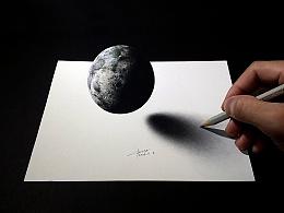 彩铅插画—月球