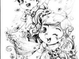 铅笔绘制的绘本内页插图