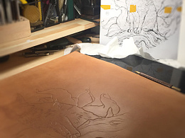 皮塑皮雕作品《九尾狐》