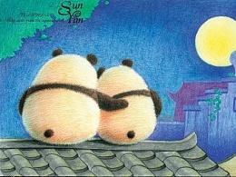 末末的彩铅世界 手绘熊猫明信片