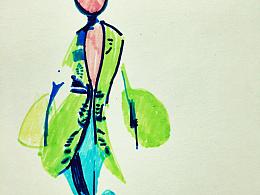 手绘水彩女生