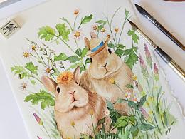 【原创水彩】治愈系小兔子