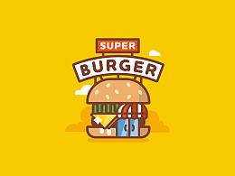 扁平超级汉堡屋