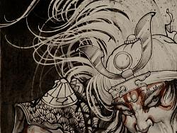 西安天予刺绘画作品《挥刀武士》