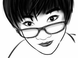 SketchBook Mobile 手绘/指绘 身边的美女同事肖像画
