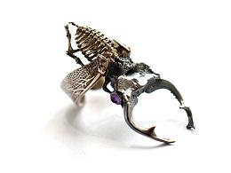 骸首饰设计师原创空想解剖学系列【深山锹甲】手工昆甲虫戒指银