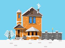 扁平房子(下雪)