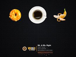 wait coffee 的一部分海报设计和一个地图