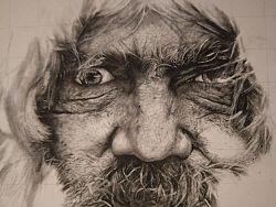 一张未完成的老人像
