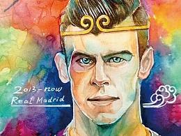 作为一位美凌格的第二张水彩皇马球员肖像