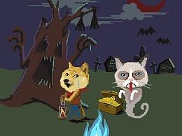 像素小游戏《猫狗大战之doge躲猫猫》