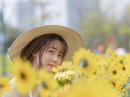 无意争春景,却在花下浅笑。
