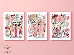少女系粉色商业插画