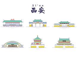 西安旅游地标建筑-线性图标化设计