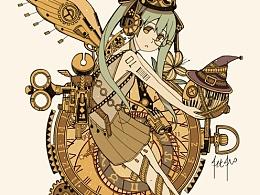 蒸汽朋克插画集2魔女主题蒸汽街系列