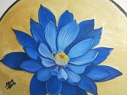 画扇——蓝莲花