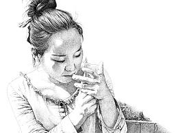 楚歌钢笔画-美伢(点画)46.4*31.6cm