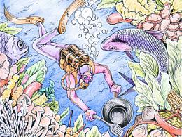 《潜水美食》手绘插图过程