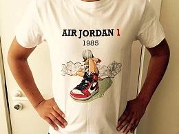 《DREAM GIRL—AIR JORDAN》系列插画创作及艺术衍生产品展示【二:运动T恤衫(1)】