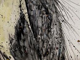 原创水彩-《苍鹭》