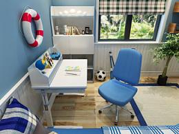 儿童房,电脑桌,书桌书柜效果图,儿童电脑桌效果图,淘宝家具3d效果图