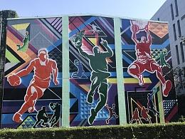 雕塑与墙绘 瓷砖墙墙绘 色块墙绘 运动感墙绘