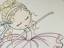 手绘彩铅跳舞的女孩儿