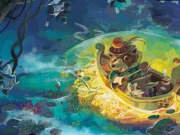 月光下的小熊和兔子